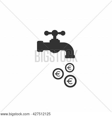 Tap Or Faucet With Euro Coins. Money Resource, Passive Income Concept. Finance Flow, Easy Earnings,