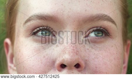 The Red-haired Girl Opens Her Beautiful Blue Eyes. Close Up Of A Girls Face. Gorgeous Young Woman Wi
