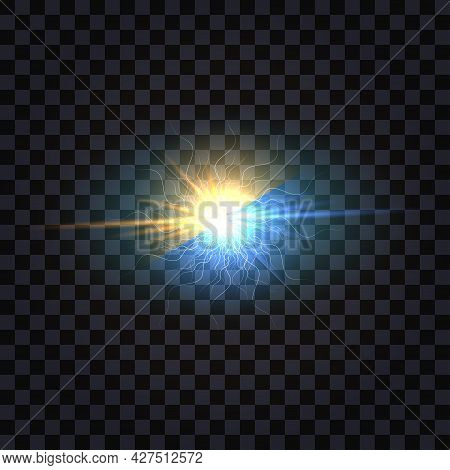 Electric Light Flash Effect, Blue Vs Yellow Color  Explosion.   Electrical Discharge Shock Burst Wit