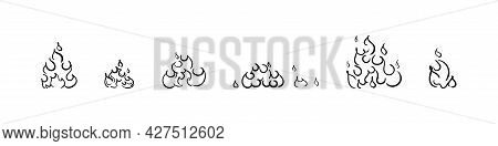 Fire Doodle Collection, Flame Emblem In Hand Drawn Scribble Style, Blazing Bonfire Icon Set.