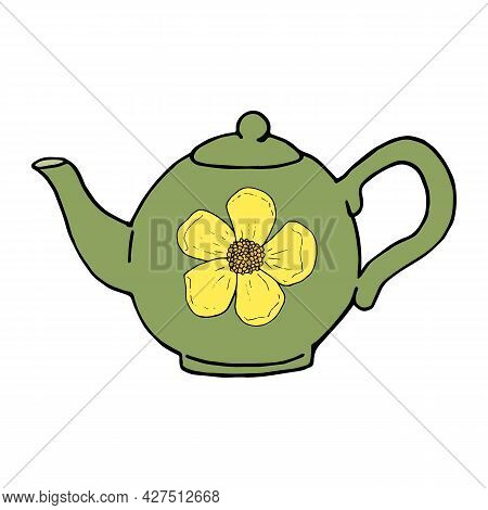 Green Teapot With A Painted Yellow Buttercup On A White Background
