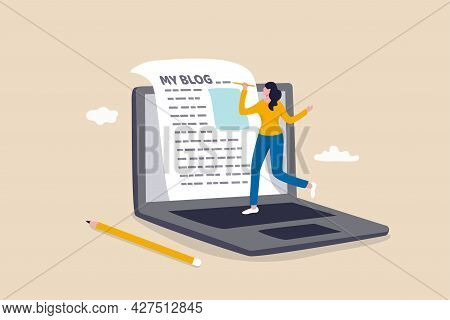 Content Writer Or Blogger, Start New Blog Writing Article Online Or Journalism, Storytelling And Soc