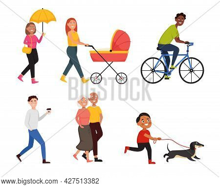 Set Of People In Different Situations. Men And Women In Urban Lifestyle. Walking People.  Cartoon Ch
