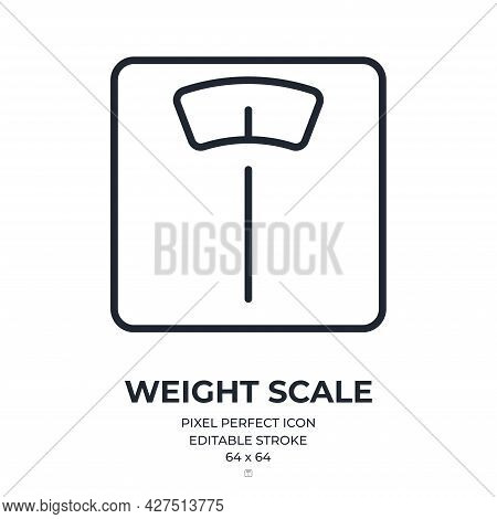 Bathroom Scale Editable Stroke Outline Icon Isolated On White Background Flat Vector Illustration. P