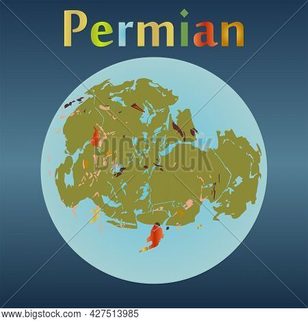 Permian Period In The History Of The Earth. Ancient Continent.