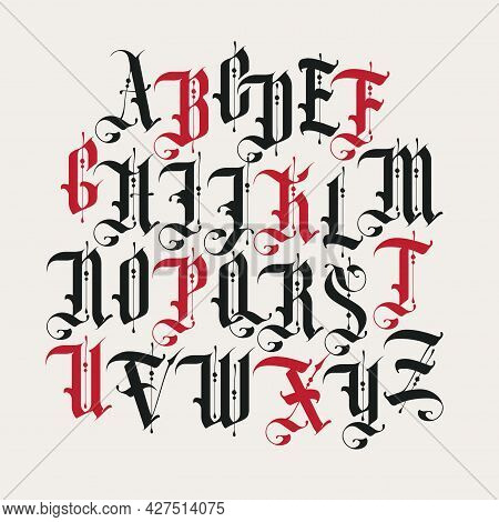 Full Set Of Capital Letters Of The English Alphabet In Vintage Style. Gothic Font. Medieval Latin Le