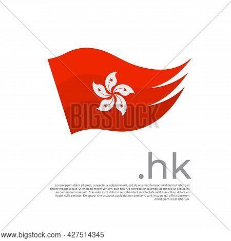 Hong Kong Flag. Colored Stripes Hong Kong Flag On A White Background. Vector Design Of National Post