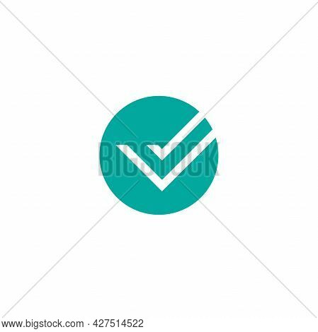 Check Mark. Valid Seal Icon. White Squared Tick In Blue Circle. Flat Ok Sticker Icon. Isolated On Wh