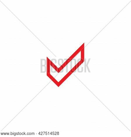 Valid Seal Icon. Pink Line Tick. Line Ok Sticker Icon. Isolated On White. Accept Button. Good For We