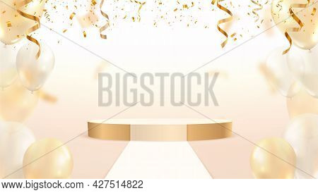 Golden Stage Podium With Falling Down Colorful Confetti And Balloons On Light Background. Fashion Mo