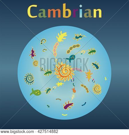 Cambrian Explosion In The History Of The Earth. A Manifold Increase In Living Organisms On Planet Ea