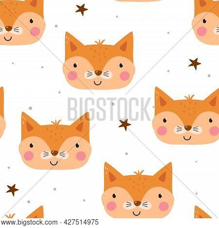 Seamless Pattern Cute Character - Animal Baby Fox. Vector Print For Baby Shower. Printable Templates