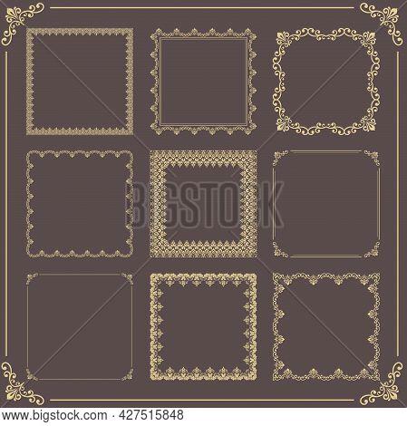 Vintage Set Of Vector Elements. Different Golden Square Elements For Decoration And Design Frames, C