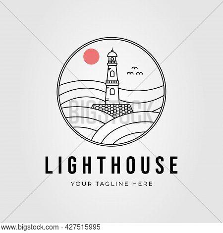 Lighthouse, Beacon Tower Outline Logo Vector Illustration Design