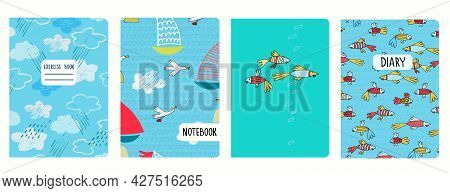 Cover Page Vector Templates With Sailboats, Sea Birds, Tropical Fish, Clouds. Headers Isolated And R