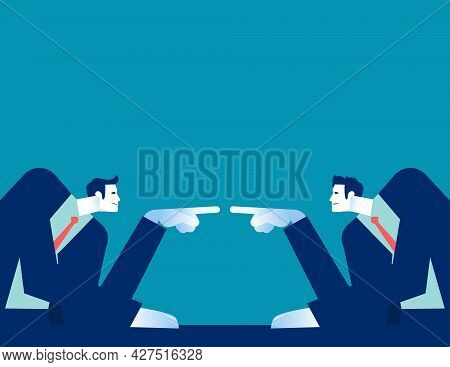 Two Business Person Accusing Each Other At The Desk. Quarrel In The Office Concept