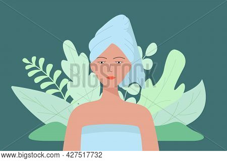 A Young Beautiful Woman With A Towel On Her Head. Vector Illustration Of The Concept Of Beauty, Hygi