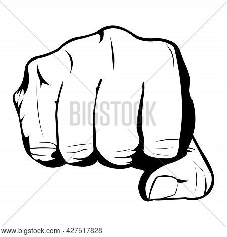 Hand Movement Punching From The Front. Man Hands. The Fist. Fist Fight. Outline. Black And White. Bo