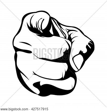Pointing Something. An Order. Leadership. Man Hands. Human Hands. Body Part. Black And White Illustr