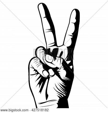 Victory Icon. Victory Symbol. Number Two. Black And White. Outline. White Background. Two Fingers. B