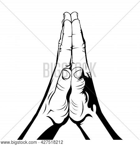 The Hands Of People Who Are Praying. The Hand Of The Person Who Is Apologizing. Hands Of People Who
