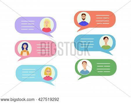 A Set Of Avatars Of Different Men And Women In Speech Bubbles. Concept Of Chat, Message, Web Communi