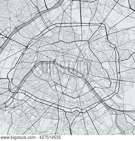 Urban City Map Of Paris. Vector Illustration, Paris Map Grayscale Art Poster. Street Map Image With