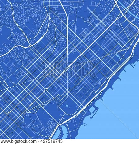 Detailed Map Poster Of Barcelona City Administrative Area. Cityscape Panorama. Decorative Graphic To
