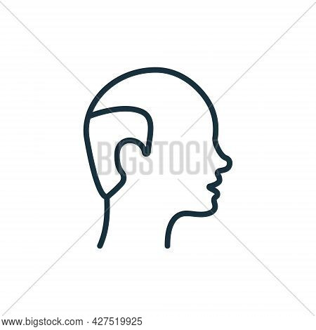 Hairless Male Line Icon. Bald Man Linear Pictogram. Hair Loss, Alopecia Medical Problem Outline Icon