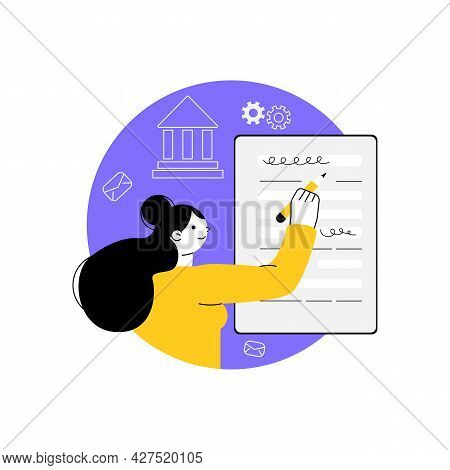 Woman With Pencil Filling In Paper Form. Application Form, Tax Return. Concept Of Public Survey, Cus