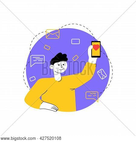 Young Man With Phone In His Hand Shows Heart-shaped Like. Mobile Dating Application, Remote Communic