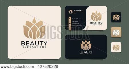 Beauty Spa Yoga Lotus Salon Elements Unique Logo Design. Logo Can Be Used For Icon, Brand, Identity,