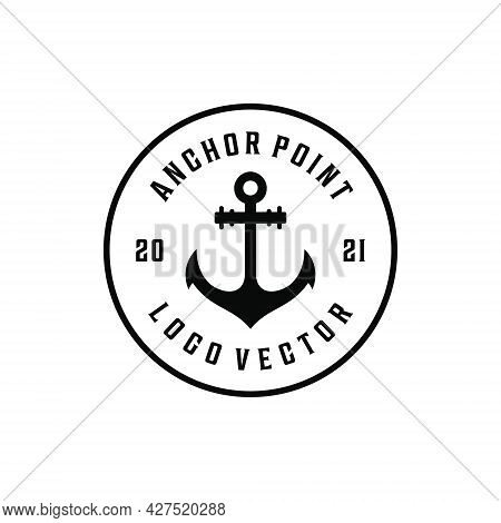 Retro Vintage Hipster Sailor Anchor Point Cruise Marine Logo Design. Logo Can Be Used For Icon, Bran