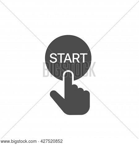 Finger Pressing Start Button Icon Hand Pushing Button