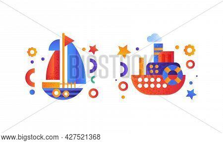 Water Transport Set, Yacht, Passenger Cruise Ship Icons Flat Vector Illustration