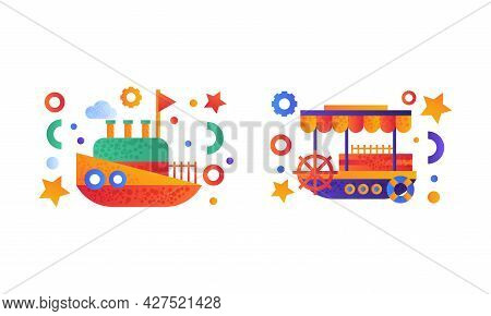 Water Transport Set, Vintage Steamboat And Ship Icons Flat Vector Illustration