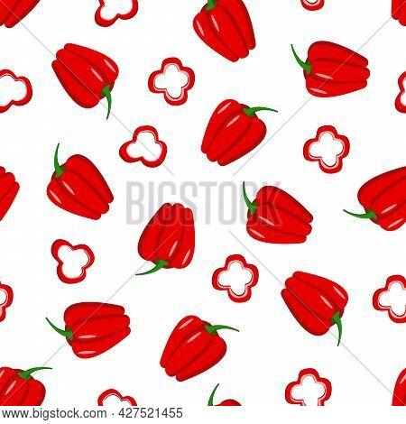 Seamless Pattern Of Red Sweet Bell Pepper. Vector Illustration Of Vegetables.
