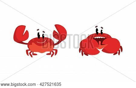 Funny Crab Characters Set, Amusement Sea Creatures With Smiling Faces Cartoon Vector Illustration