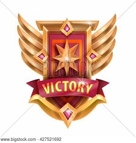 Game Victory Badge Icon, Vector Ui Gold Trophy Medal, Level Up Rank Achievement, Wings, Star Gemston