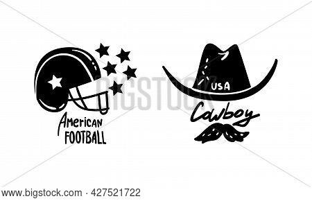 Usa Logo Badges Set, American National Symbols, Patriotic Independence Day Black Emblems Vector Illu