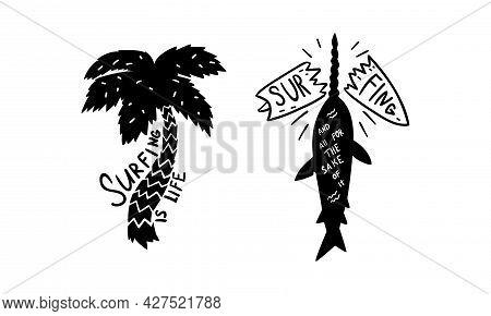 Set Of Surfing Black Logo Design, Surf Club, Shop Labels And Emblems Vector Illustration
