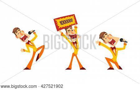 Lottery Show, Lucky Happy People Winning Jackpot Cartoon Vector Illustration