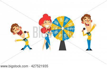 Lucky Happy People Winning Jackpot On Million Dollars At Lottery Show Cartoon Vector Illustration