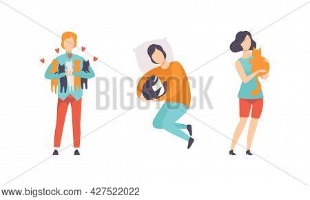 Cat Owners Spending Time With Their Pets Set, People Hugging And Petting Cats Flat Vector Illustrati