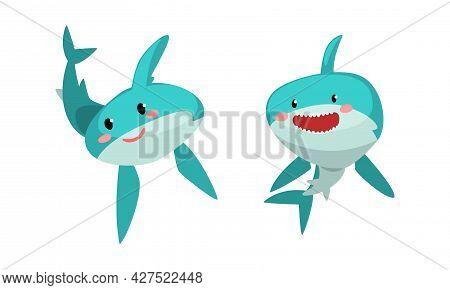 Funny Sharks Set, Amusing Predator Sea Animal With Smiling Faces Cartoon Vector Illustration