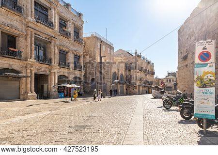 Jerusalem, Israel, July 17, 2021 : The Al Batriarkeya Al Armaneya Street, Leading From The Jaffa Gat