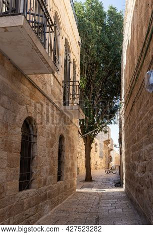 The Quiet Small Ararat Street In The Armenian Quarter In The Old City Of Jerusalem, Israel