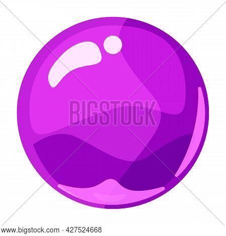 Ball Purple Shiny Glossy Colorful Game Art. Magic Crystal Glass Sphere, Bubble Shot Elements. Cartoo