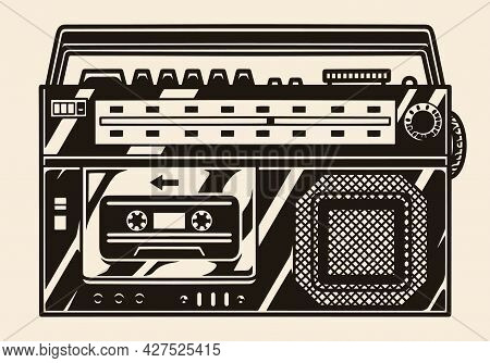Retro Cassette Recorder With Radio Receiver In Vintage Monochrome Style Isolated Vector Illustration
