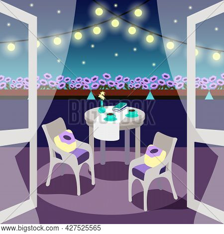 Night Cozy Balcony With Lights And Petunias.